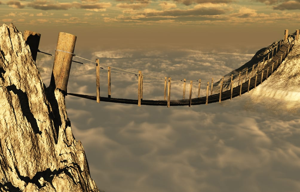 Wooden Bridge above the clouds