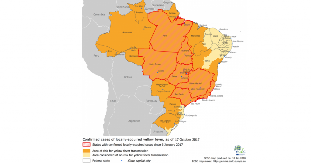 Map of South America indicating areas with Yellow Fever