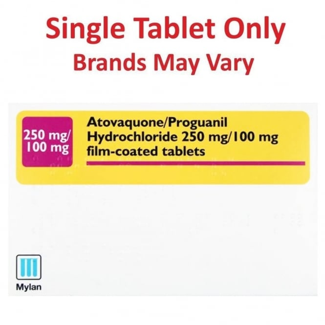 Atovaquone and Proguanil 250mg/100mg Single Tablet (Malarone generic tablets)