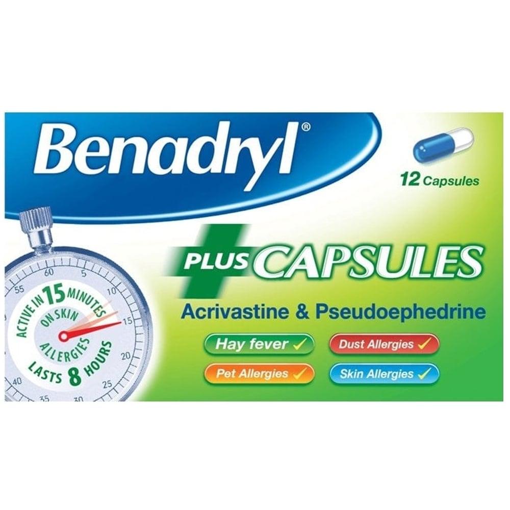 Benadryl Plus Capsules Fast Allergy Relief Travelpharm