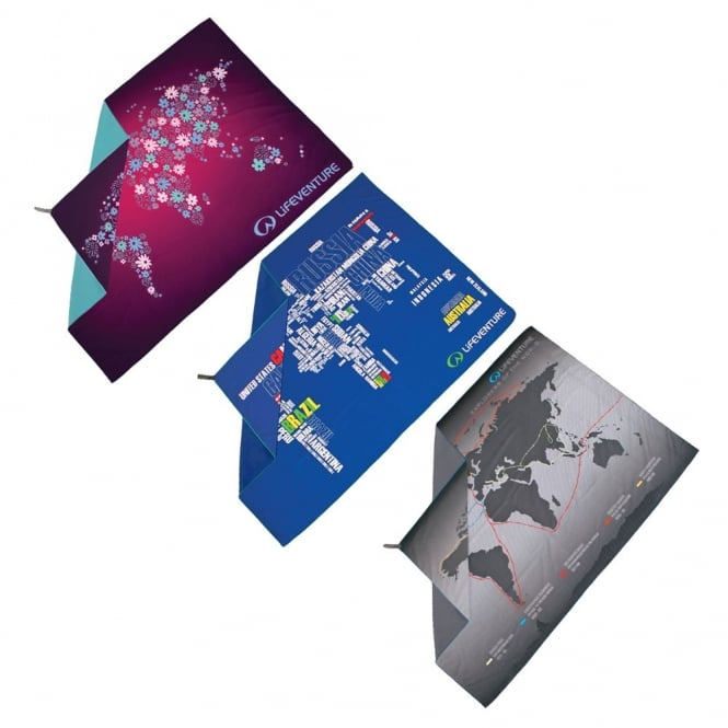 Lifeventure Soft-Fibre Map Series Printed Large Trek Towel