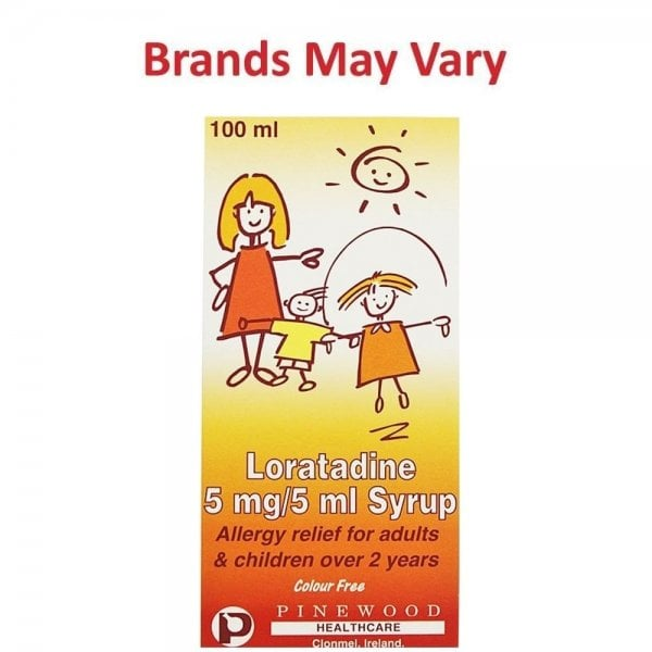 Loratadine Syrup 5mg/5ml Allergy Relief 100ml