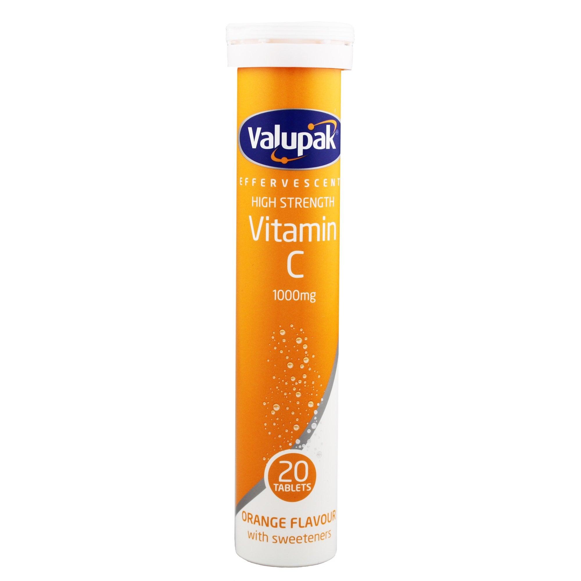 Buy Valupak High Strength Vitamin C Effervescent Tablets Travelpharm